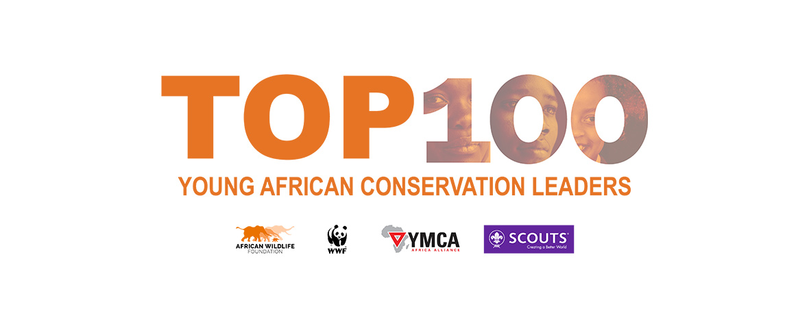 Top 100 Young African Conservation Leaders header with AWF, WWF, YMCA and Scouts logos