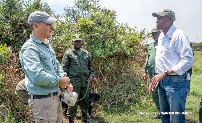 AWF CEO Kaddu Sebunya and Canines for Conservation Director Will Powell discuss the Serengeti tracker dog unit