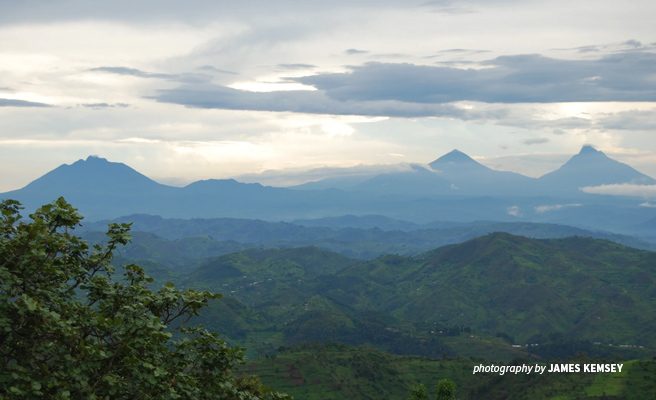 Photo of Virunga Mountains as seen from Clouds Mountain Gorilla Lodge