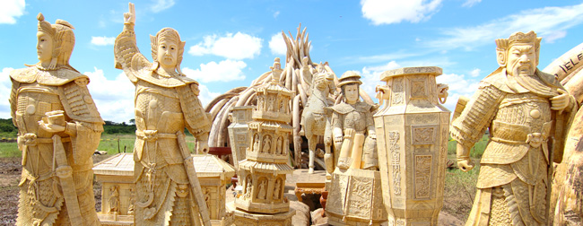 Photo of traditional ivory carvings before historic ivory burn to stop illegal trade in wildlife products