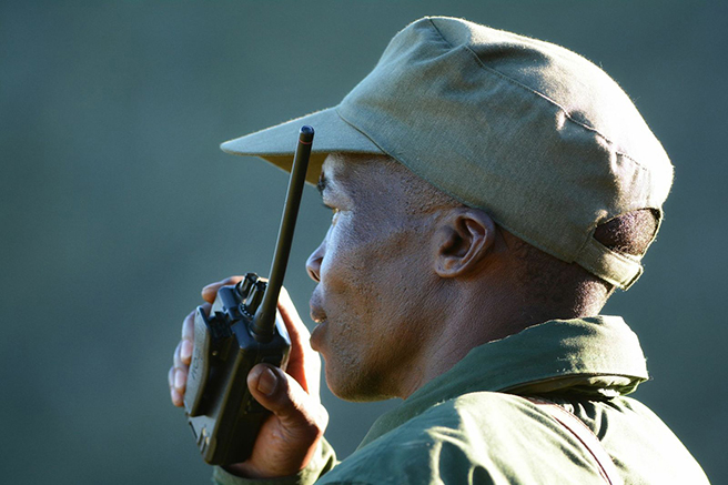 Wildlife ranger with walkie talkie in South Africa's Great Fish River Nature Conservancy. Photo by: Billy Dodson
