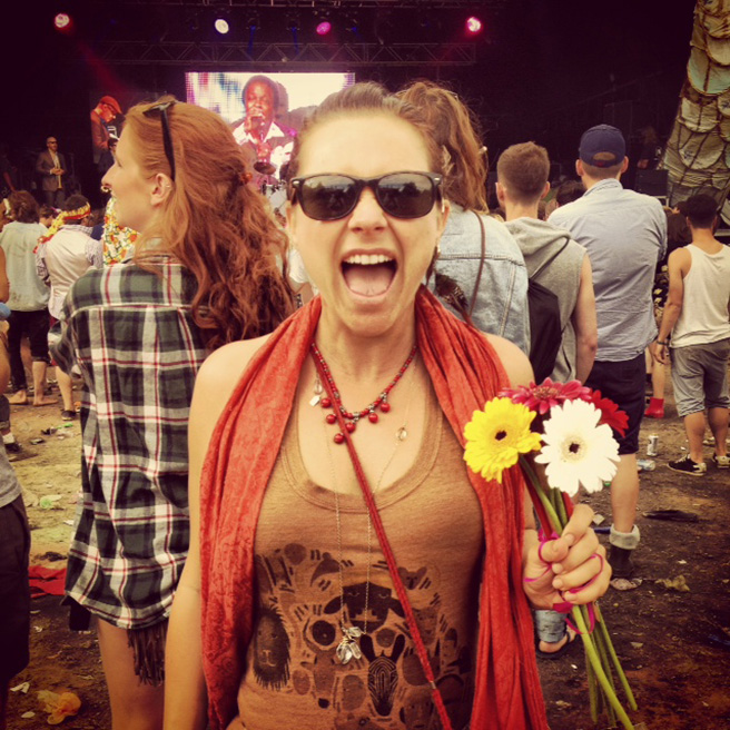 Singer January Thompson wearing an AWF ThreadStart tank at the Secret Garden Party Festival