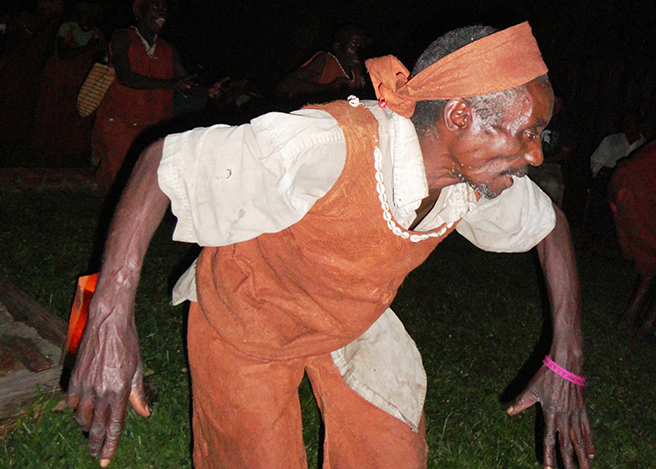 The Batwa engage in traditional dancing