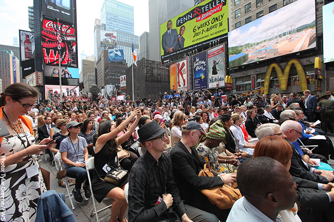 A Substantial Crowd Gathers in Times Square in Support of the Ivory Crush