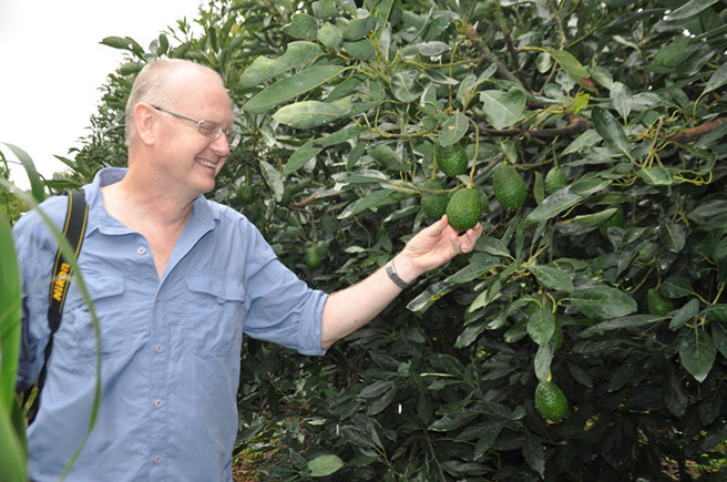 AWF's director for climate change, Dave Loubser visiting Rungwe Avocado Company in Tanzania. Photo by Andrea Athanas