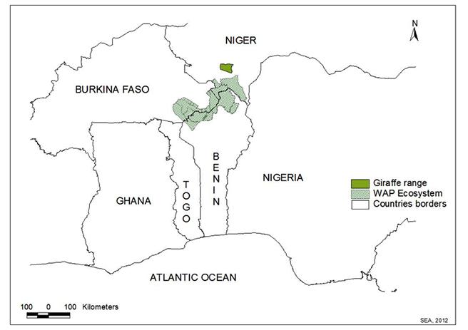 Giraffe range in West Africa