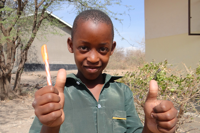 Hancy, a student at African Wildlife Foundation's Manyara Ranch Conservancy Primary School, an African Conservation School