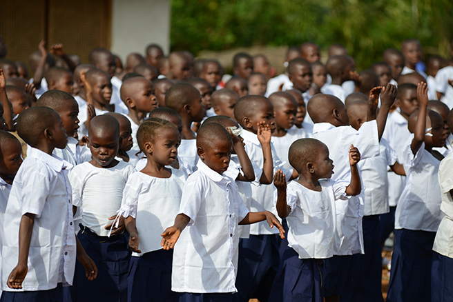 Students celebrate the grand opening of Ilima Conservation School