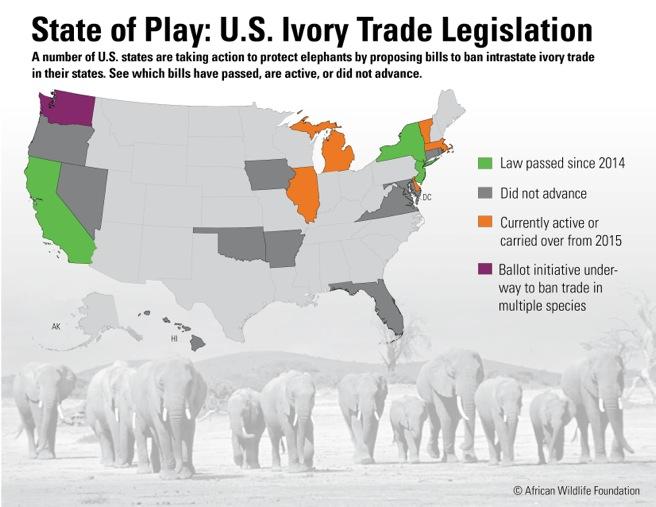 Map of U.S. state legislation on ivory trade