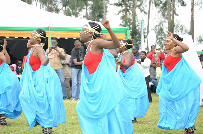 Female dancers at the 2013 Kwita Izina Mountaing Gorilla naming ceremony. Photo by: Anna Behm-Masozera