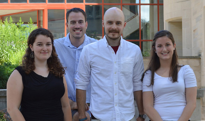 Research team! From left: Colleen Friedly, Eric Shattuck, Sean Prall, and Emilee Larson