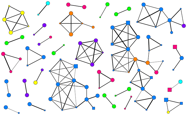 Network of forest elephant associations collected from dung samples. Individuals (symbols) are connected to one another by lines if their dung samples were ever collected together. Darker lines mean they were collected together more often.