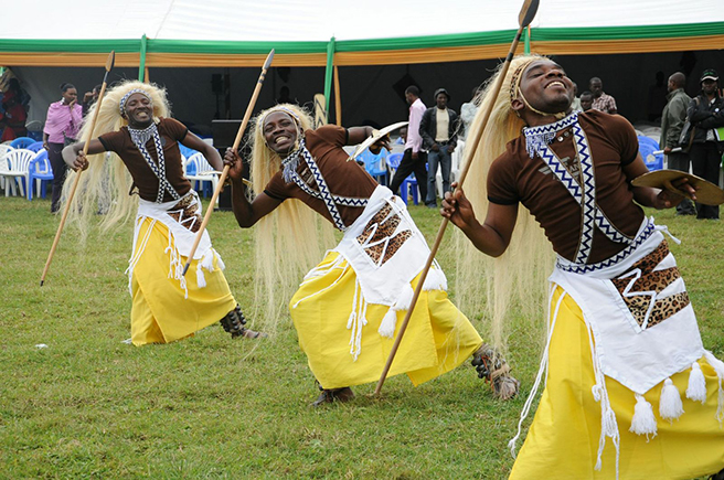 Traditional dancers perform at the 2013 Kwita Izina Mountaing Gorilla Naming Ceremony in Rwanda. Photo by: Anna Behm-Masozera