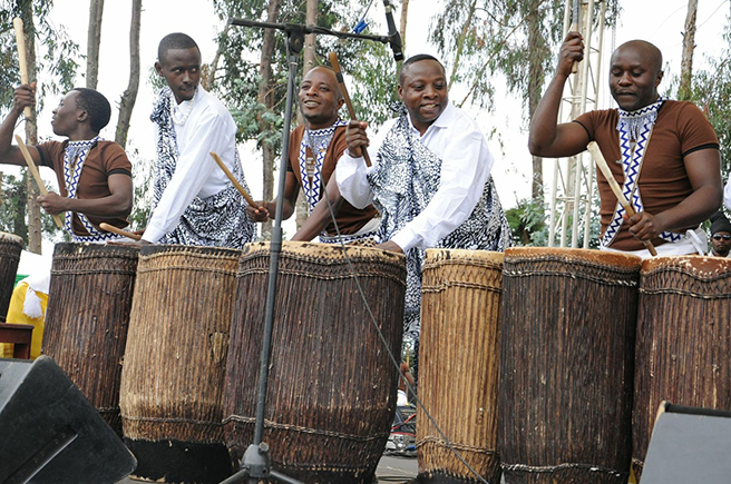 Drummers and musicians perform at the 2013 Kwita Izina Mountaing Gorilla naming ceremony. Photo by: Anna Behm-Masozera