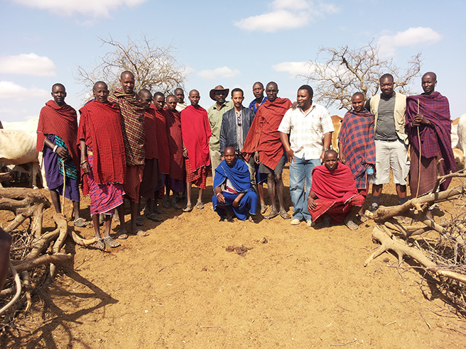 Yohannes Teshome Seifu at Manyara Ranch with livestock herders