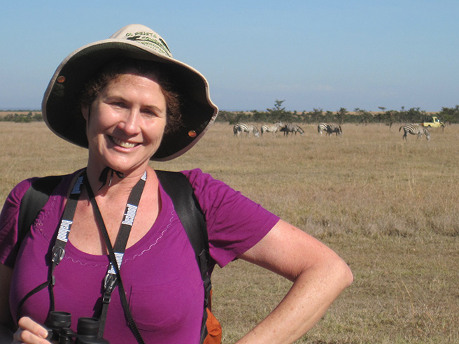 Photo of Leslie Funk on a safari walk in Kenya. Photo by: Leslie Funk