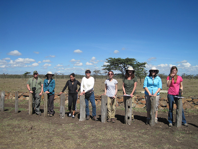 Students from George Mason University's Kenya Ecology and Conservation course, standing with rhino blocks, in Sweetwaters Camp. Photo by: Leslie Funk