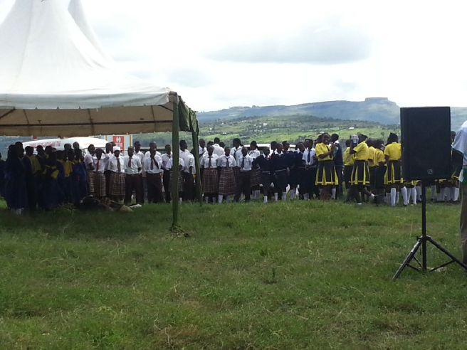 School pupils rehearsing a play to present at the World Migratory Bird Day celebration in Central Rift Lake Elementaita