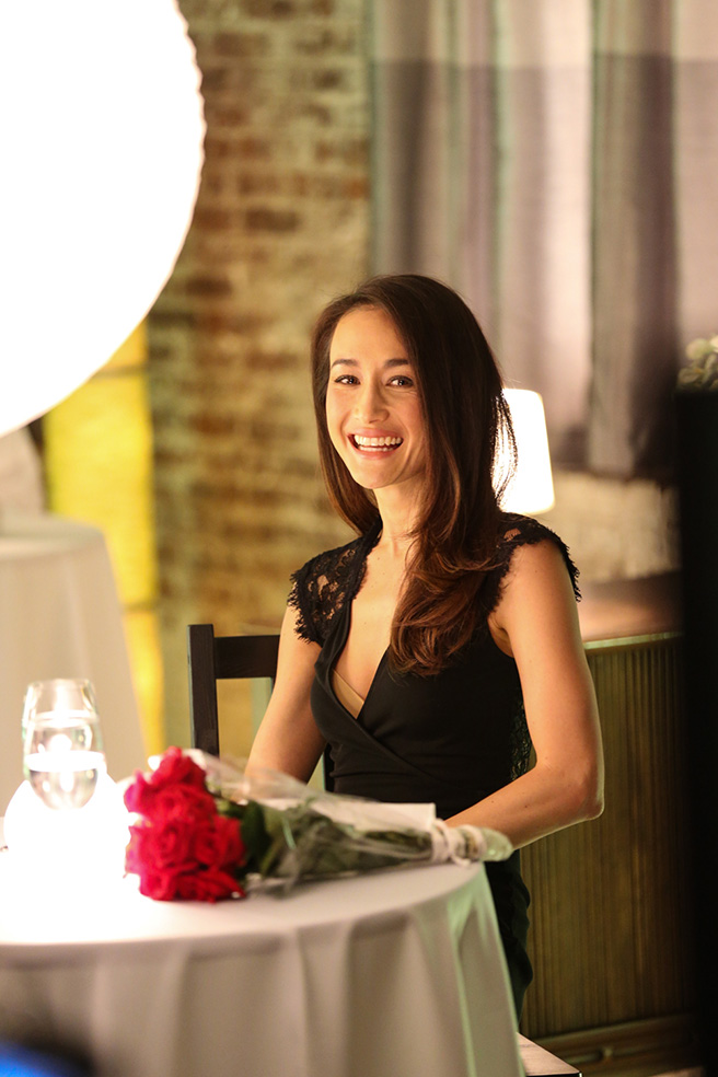 Actress Maggie Q laughs while shooting a scene for AWF's newest PSA against poaching. Photo by: Kristian Schmidt for WildAid
