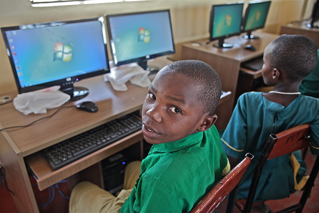 Students at AWF's Manyara Ranch Primary School in Tanzania have access to computers to advance their education