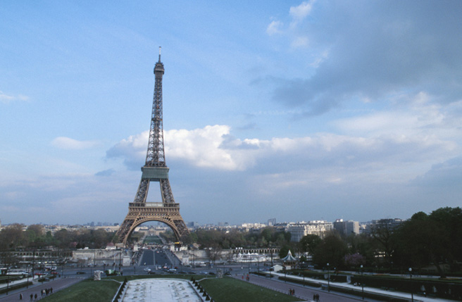 Shot of the Eiffel Tower, Paris, France.