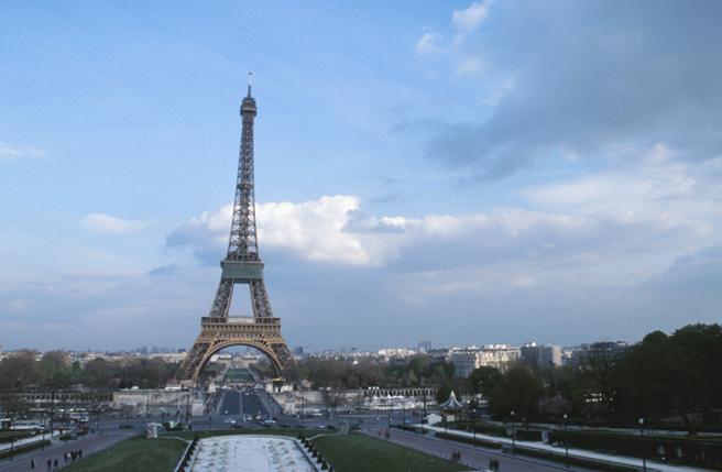 Shot of the Eiffel Tower, Paris, France.