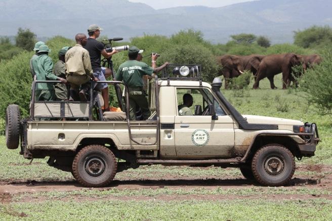 Dan Duran with Maasai Steppe team filming