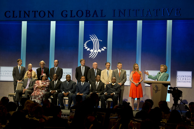 African Wildlife Foundation and conservation partners at Clinton Global Initiative with Chelsea Clinton and Hillary Clinton