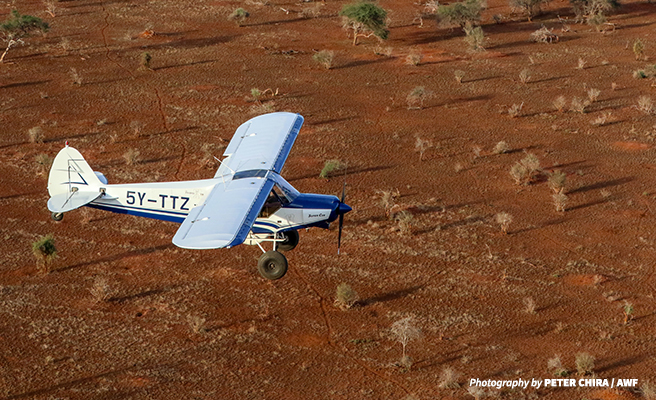A plane used in the aerial census flies over the Tsavo landscape