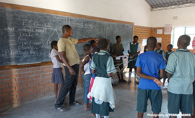 Mr. Mutale teaching the eco-club