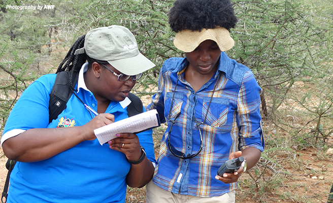 Sylvia Wasige collecting data in the field