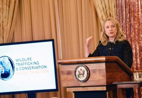 Hillary Clinton at  the U.S. State Department Wildlife Trafficking partnership meeting in November 2012