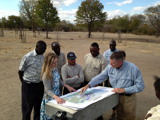 Chelsea Clinton meets with African Wildlife Foundation (AWF) CEO Patrick Bergin and AWF staff members in Zambia  Photo by: John Butler
