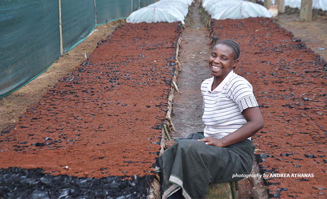 Image of a woman working in agriculture on a farm in Tanzania.