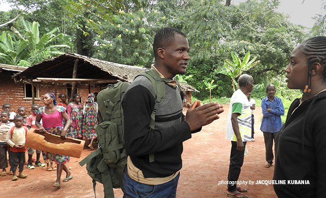 Photo of AWF Technical Advisor Hensel Fopa during a visit to Kangnnole village near Dja Faunal Reserve