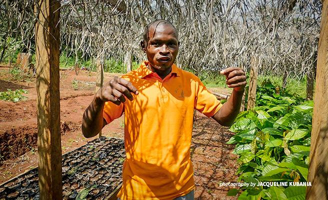 Photo of Boris Nguemo Serges, cocoa farmer in Somalomo near Dja Faunal Reserve