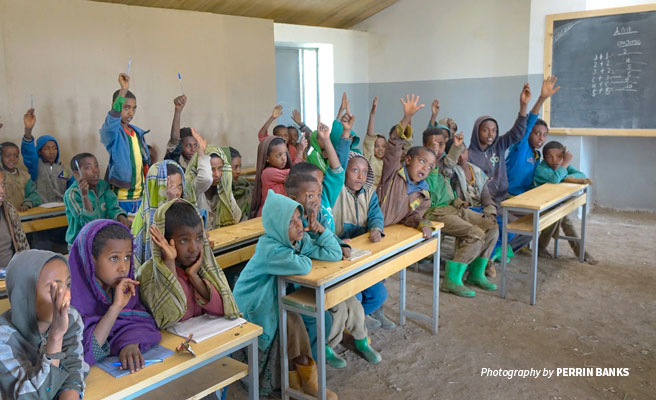 Students during a lesson at Adisge Primary School rebuilt through AWF's Classroom Africa program