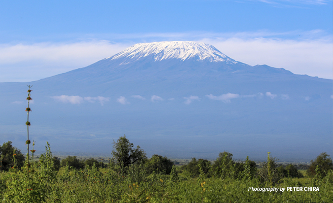 Photo of Tanzania's Mt Kilimanjaro seen from Amboseli National Park in Kenya
