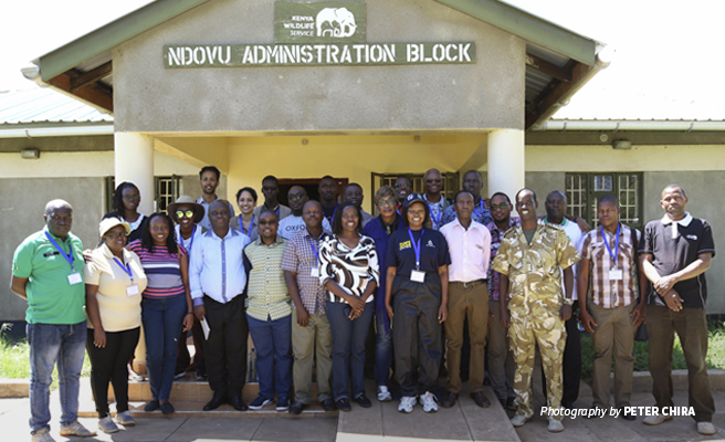 Photo of Biosphere Reserves Managers Workshop participants outisde Kenya Wildlife Service office in Amboseli National Park