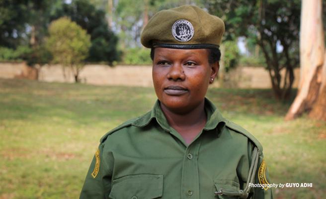 Photo of Ludovika Malemba community wildlife scout at LUMO Community Wildlife Sanctuary in Tsavo