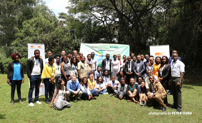 Photot of Global Youth Biodiversity Network Workshop participants at AWF headquarters