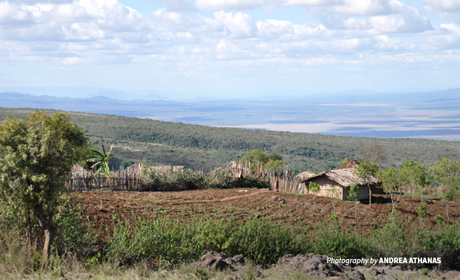 Photo of rural settlement structures in forested areas near Lake Natron in Tanzania