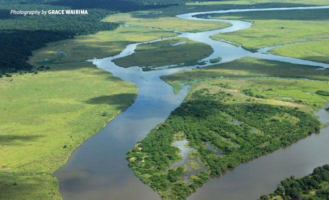 Aerial photo of Kilombero Valley Wetlands in Tanzania