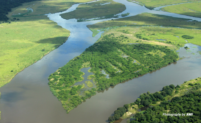 Aerial photo of river in fertile Southern Tanzania landscape