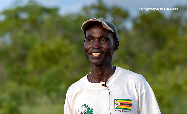 Photo of AWF-supported chili grower in Mbire district in northern Zimbabwe