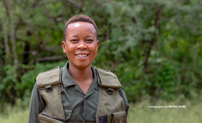 Photo of a Edith John, community wildlife scout in Lower Zambezi landscape
