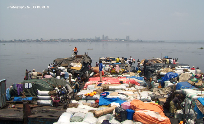 Photo of AWF-funded barge used to transport agricultural produce to markets along Congo and Maringa Rivers