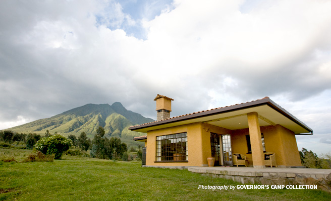 Photo of building and mountain views at Sabyinyo Silverback Lodge in Rwanda