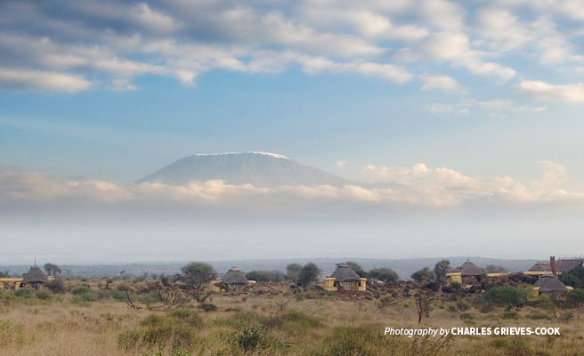 Satao Elerai Safari Camp in Amboseli with Mt Kilimanjaro in the background