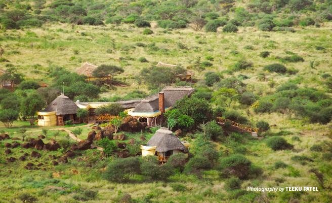 Aerial view of Satao Elerai Lodge in conservancy neighboring Amboseli Natiional Park in Kenya